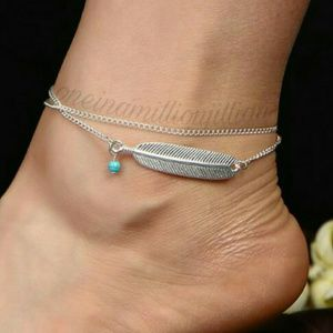 Jewelry - Double Chain Feather Ankle Bracelet/Anklet